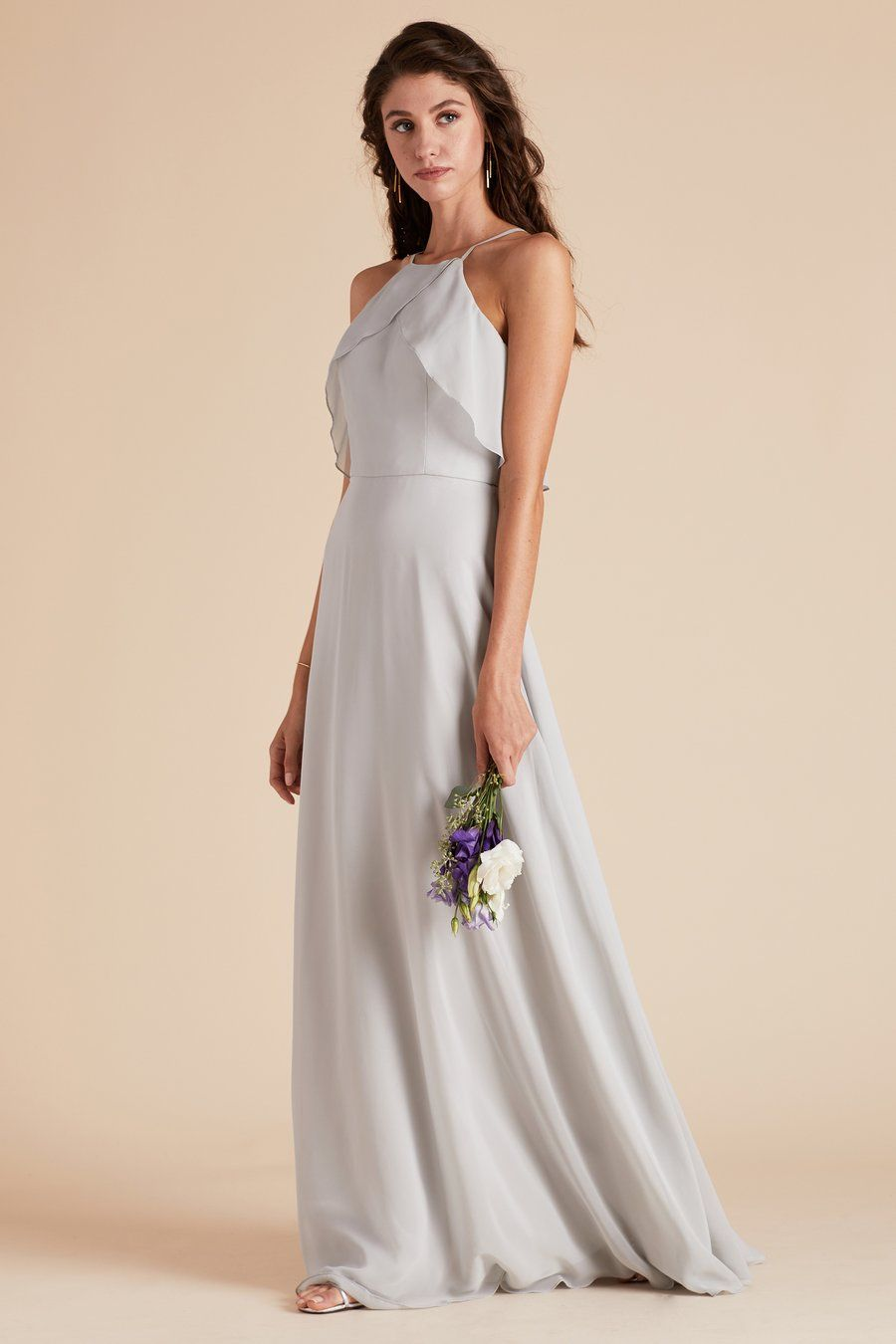 Dove Gray Halter Bridesmaid Dress Under 100