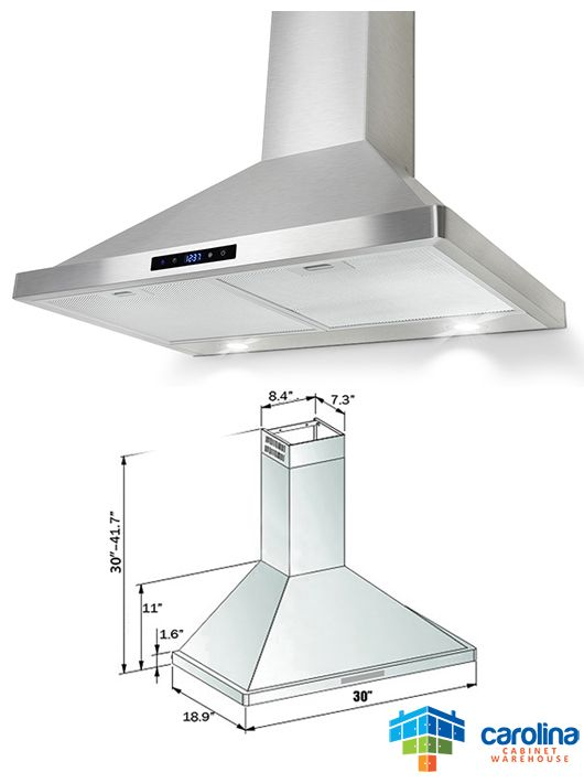 30 Wall Range Hood Minimum Required Ceiling Height 8 Feet Chimney Extension Yes Duct Size Rounded 6 Range Hoods Best Range Hoods Kitchen Cabinets Prices