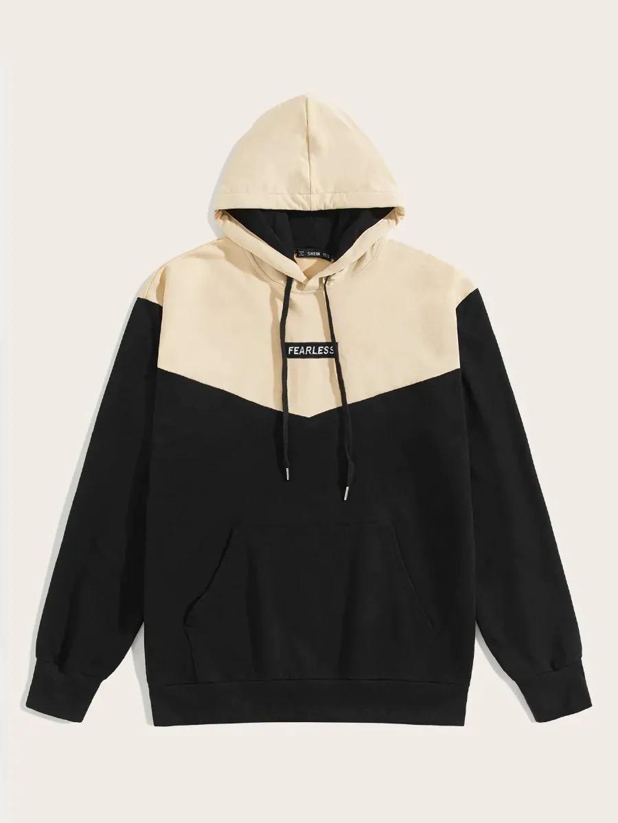 Men Embroidered Detail Pocket Front Two Tone Hoodie Mens Sweatshirts Hoodie Mens Outfits Hoodies [ 1199 x 900 Pixel ]