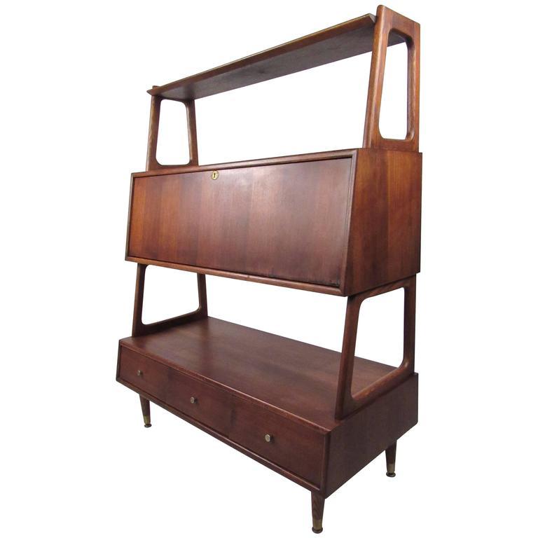 Mid Century Drop Front Desk Or Bookshelf Cabinet Bookshelf Cabinet Mid Century Modern Bookcase Mid Century Desk