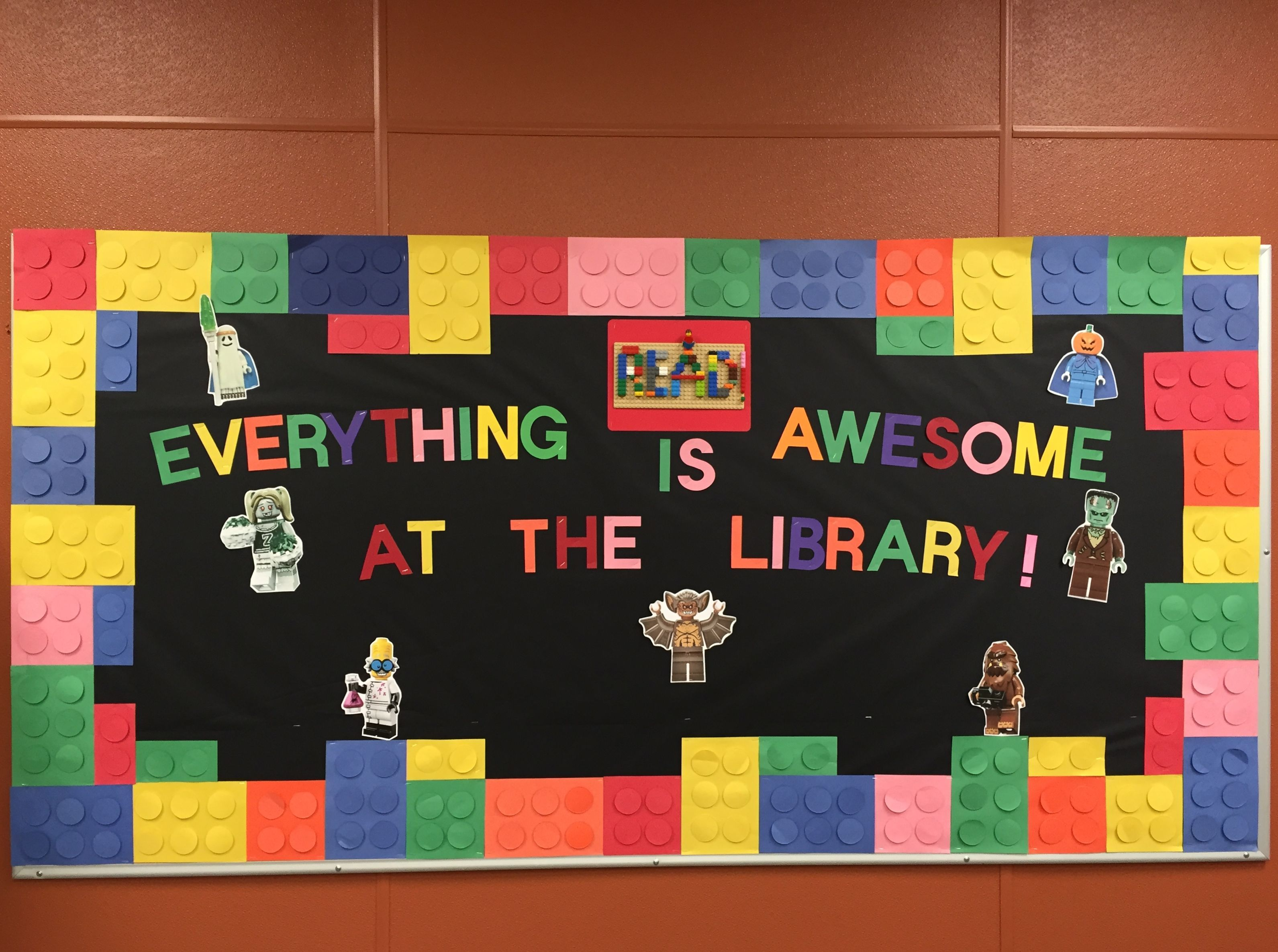 Lego bulletin board. I made this for our school library ...