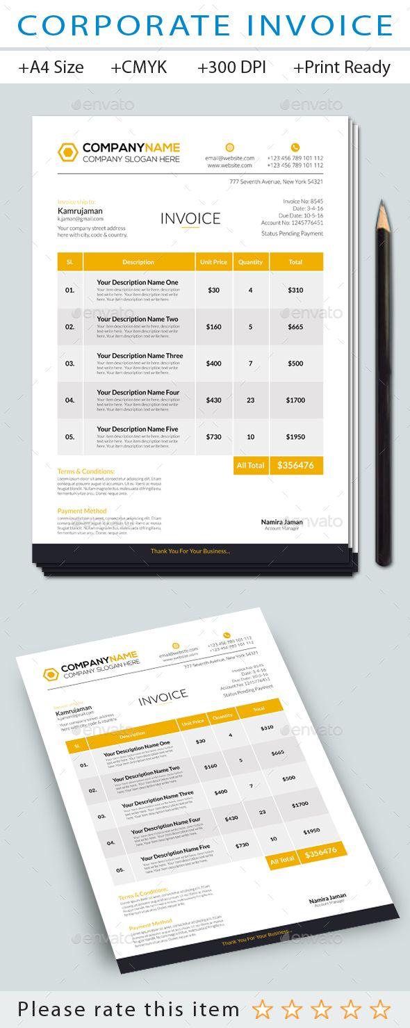 corporate invoice template proposal templates and ai illustrator
