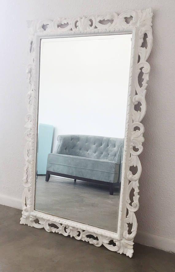 shabby chic vintage white mirror ornate