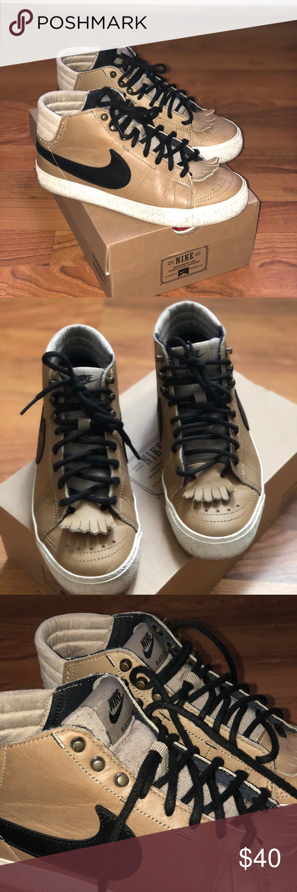 1a4ec17209 Women Nike Blazer Mid LR Women Nike Blazer Mid LR Khaki and Black. Women  size 6.5. Has a fringe detail in the front. Some scuff but I will clean  before ...