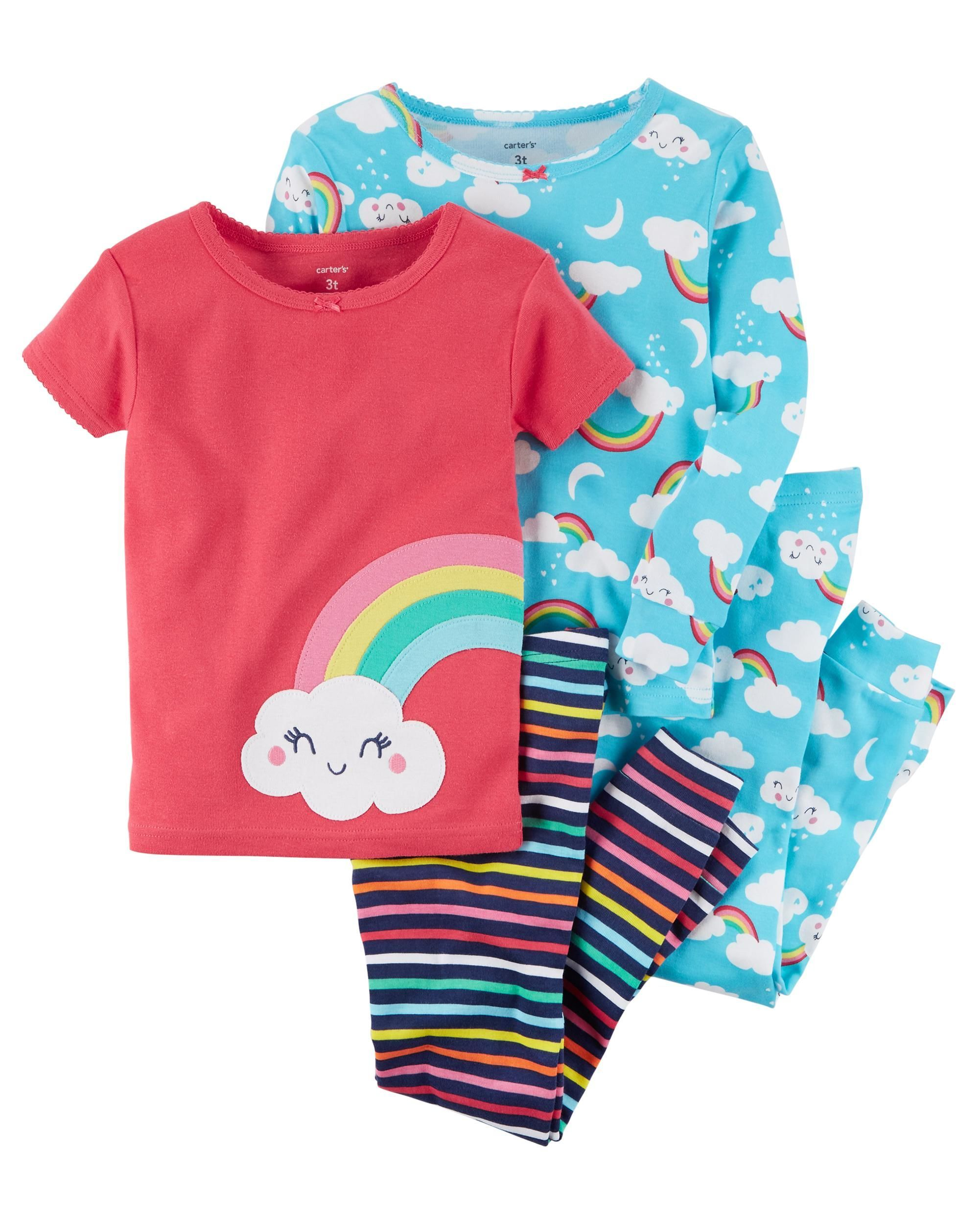 fb500927d 4-Piece Rainbow Snug Fit Cotton PJs