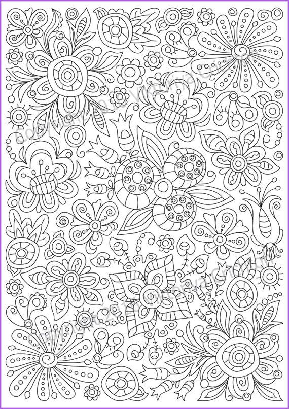 Сoloring page doodle flowers printable for adults, zen ...