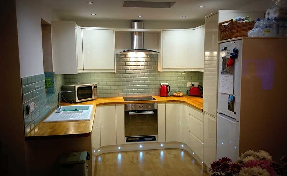 kitchen with duck egg blue metro tiles love the low lights | Kitchen ...