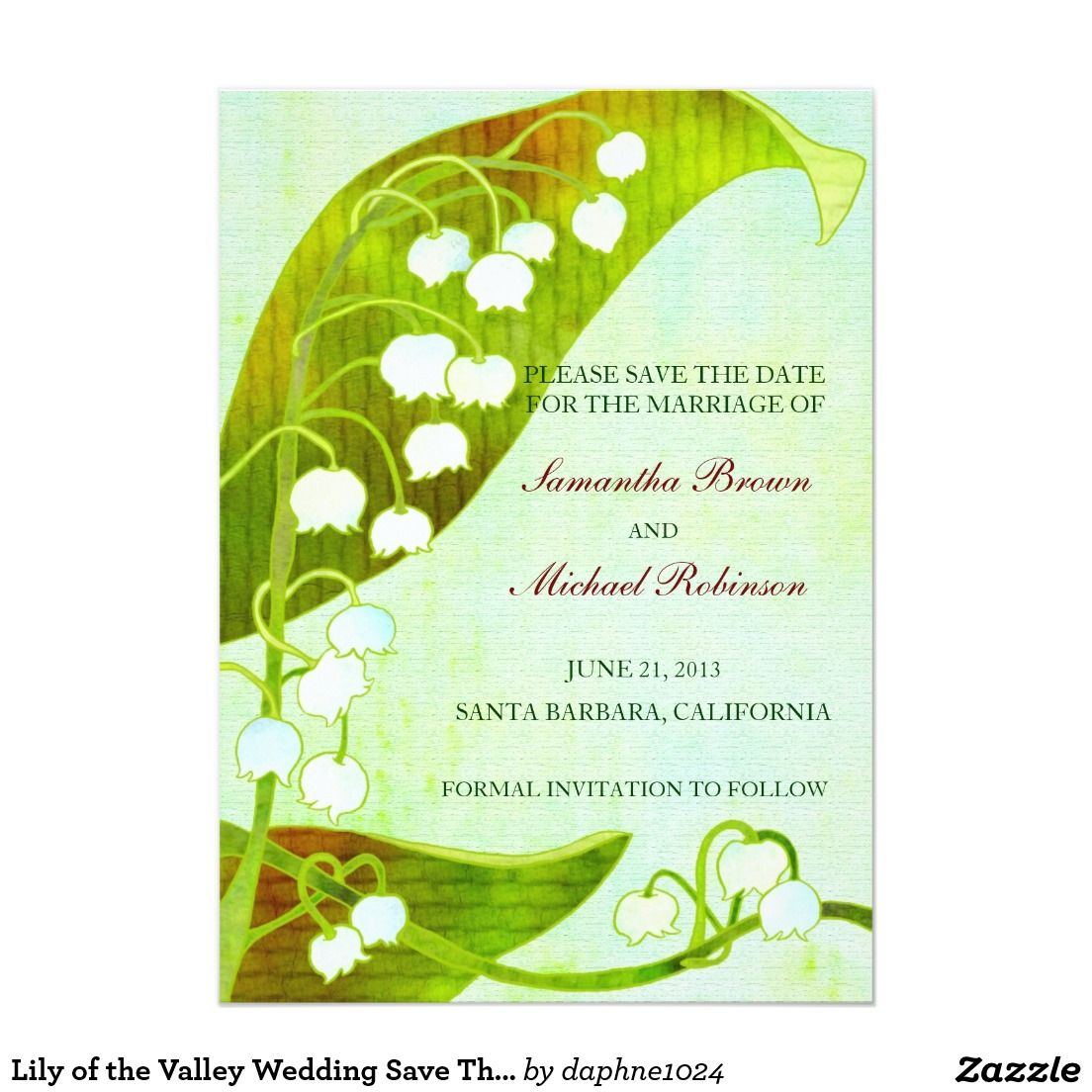 Lily of the Valley Wedding Save The Date 5x7 Paper Invitation Card ...