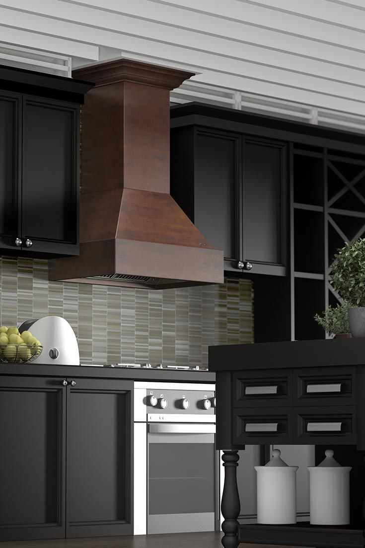 Zline Kitchen 355wh Craftsman Wall Mount Wood Range Hood Has A Solid Birch Wood Exterior And Chimney A 2 Toned Wooden Range Hood Range Hood Kitchen Range Hood