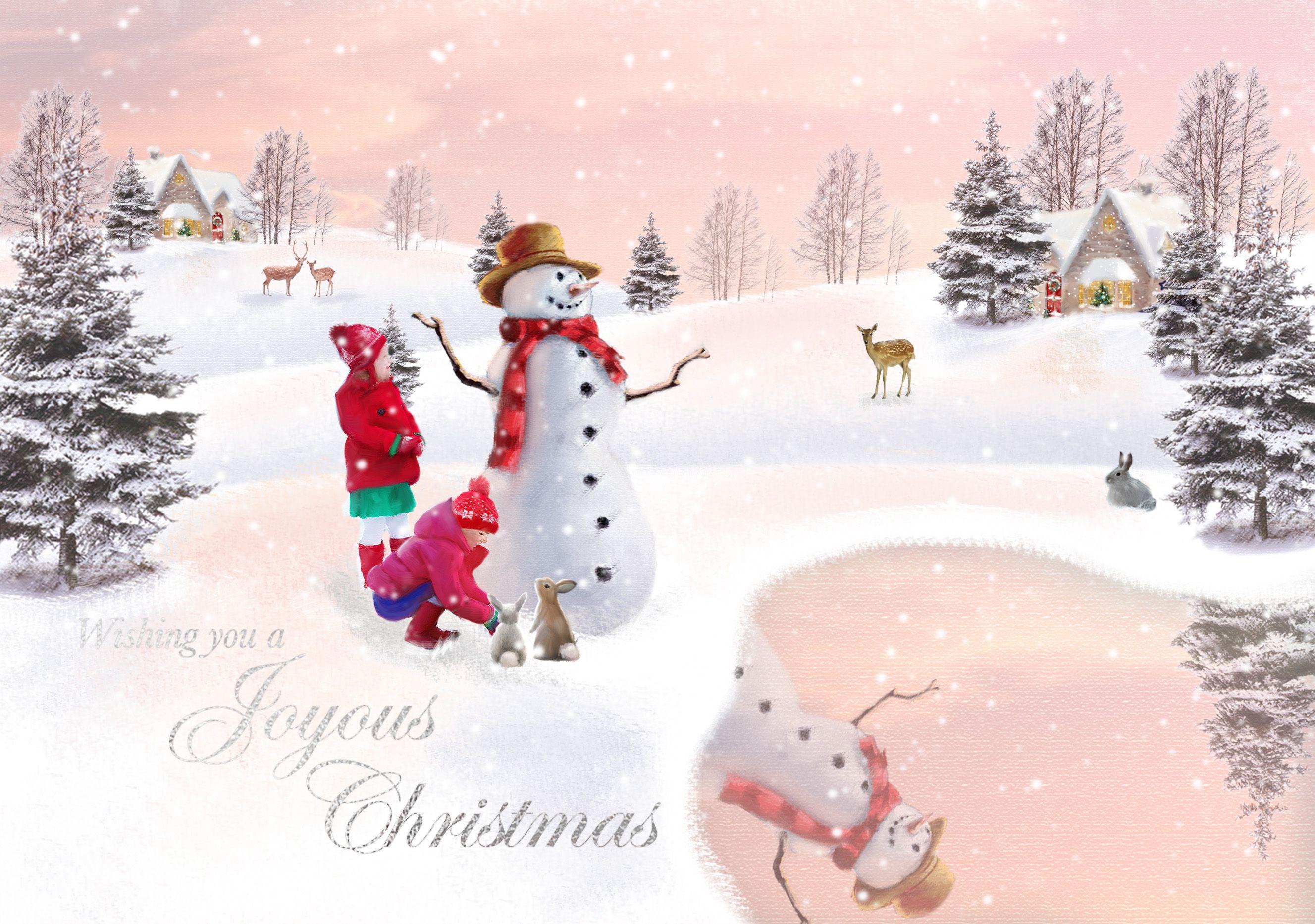 Snowman Lake Charity Christmas Card Traditional