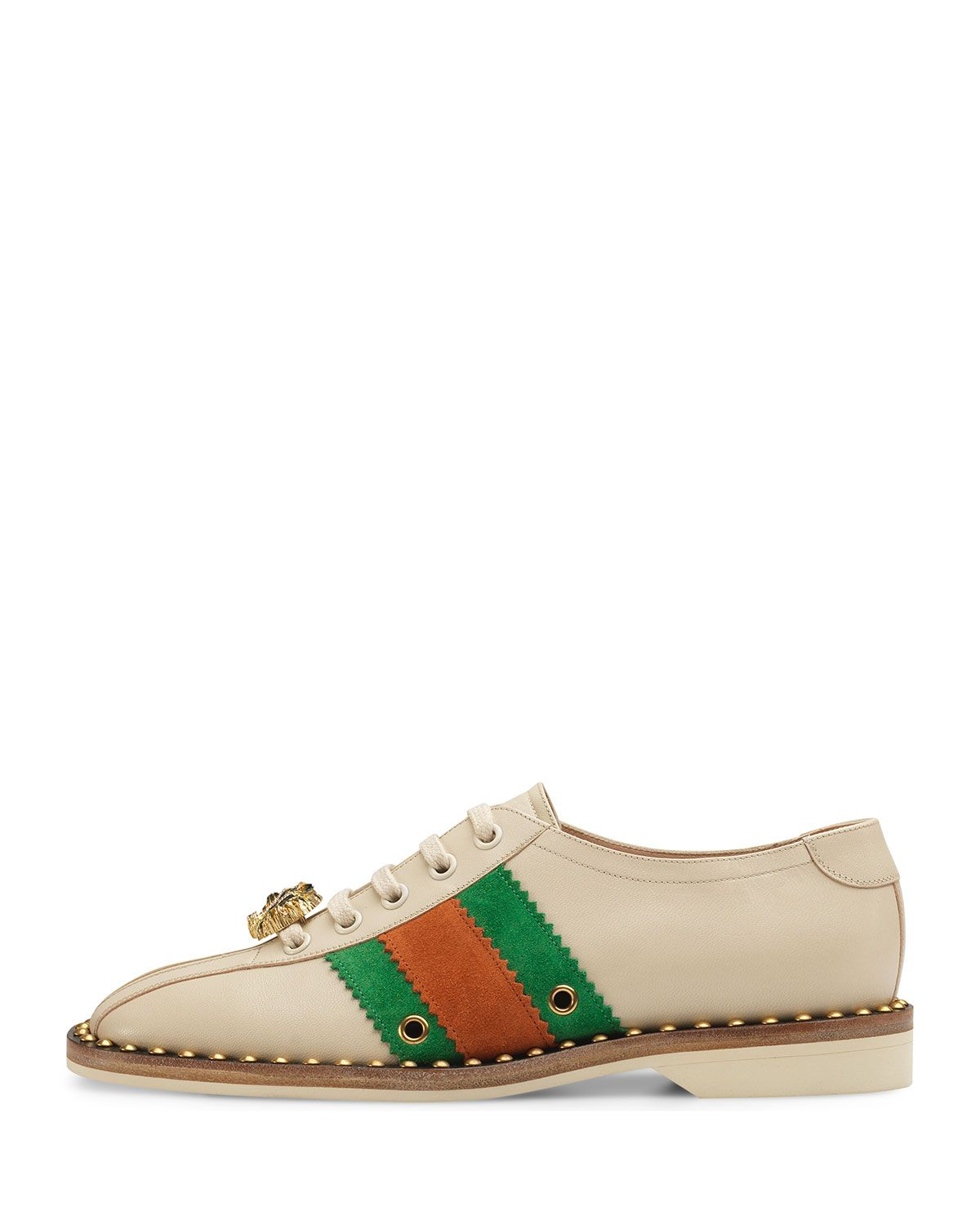 86f422da0 Gucci Leather Lace-Up Bowling Shoe Sneakers in 2019