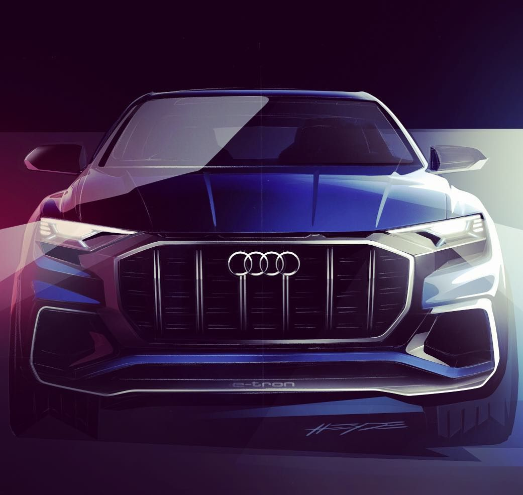 NEW #AudiQ8 will debut at #naias - Slowly regaining my confidence in Audi desing again also check out the profile pic (next) ---- oooo #audidriven - what else pic Audi ---- #Audi #Q8 #AudiQ #AudiSUV #quattro #4rings #audidesign #marclichte #audidetroit #naias2017 #detroit #audiled #audiconcept #blueaudi