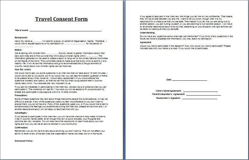 28 Parental Consent Form Template Travel In 2020 Consent Forms