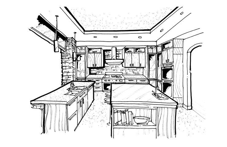 Kitchen Design Sketch Perfect Kitchen Design Sketch On Home Design