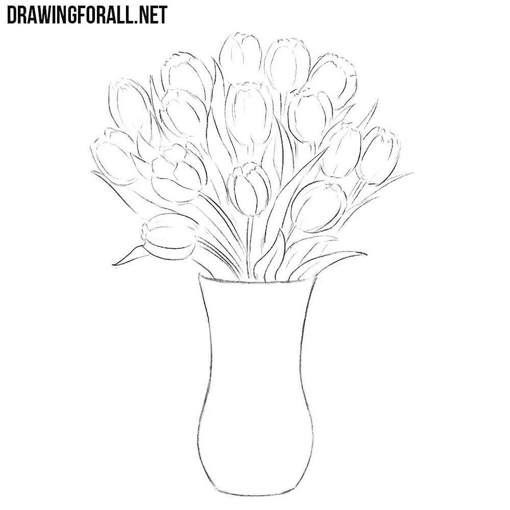 How To Draw Flowers In A Vase Flower Drawing Easy Flower Drawings Flower Vases