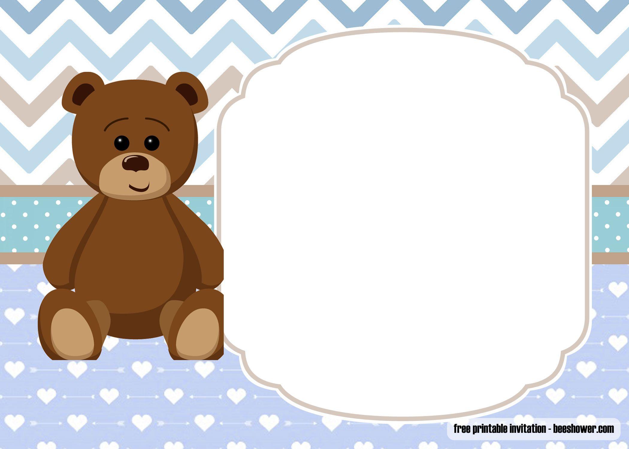Free Printable Teddy Bear Baby Shower Invitations Template