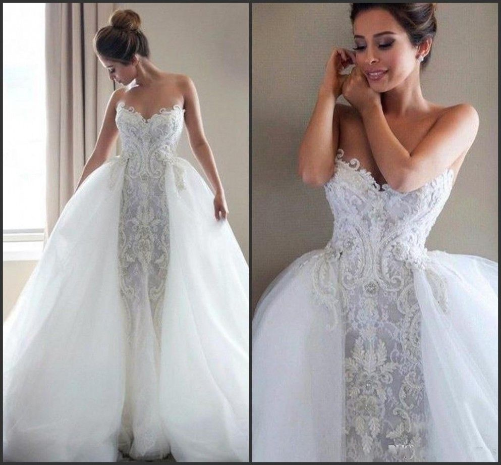 Mermaid Wedding Dress Detachable Skirt Mermaid Wedding