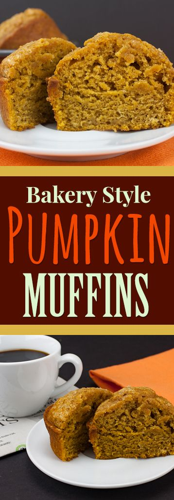 Bakery Style Pumpkin Muffins - These muffins are jumbo, gloriously full of pumpkin flavor, moist and tender. Perfection! #pumpkinmuffins