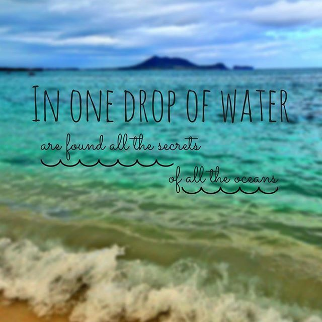 In One Drop Of Water Are Found All The Secrets Of All The Oceans