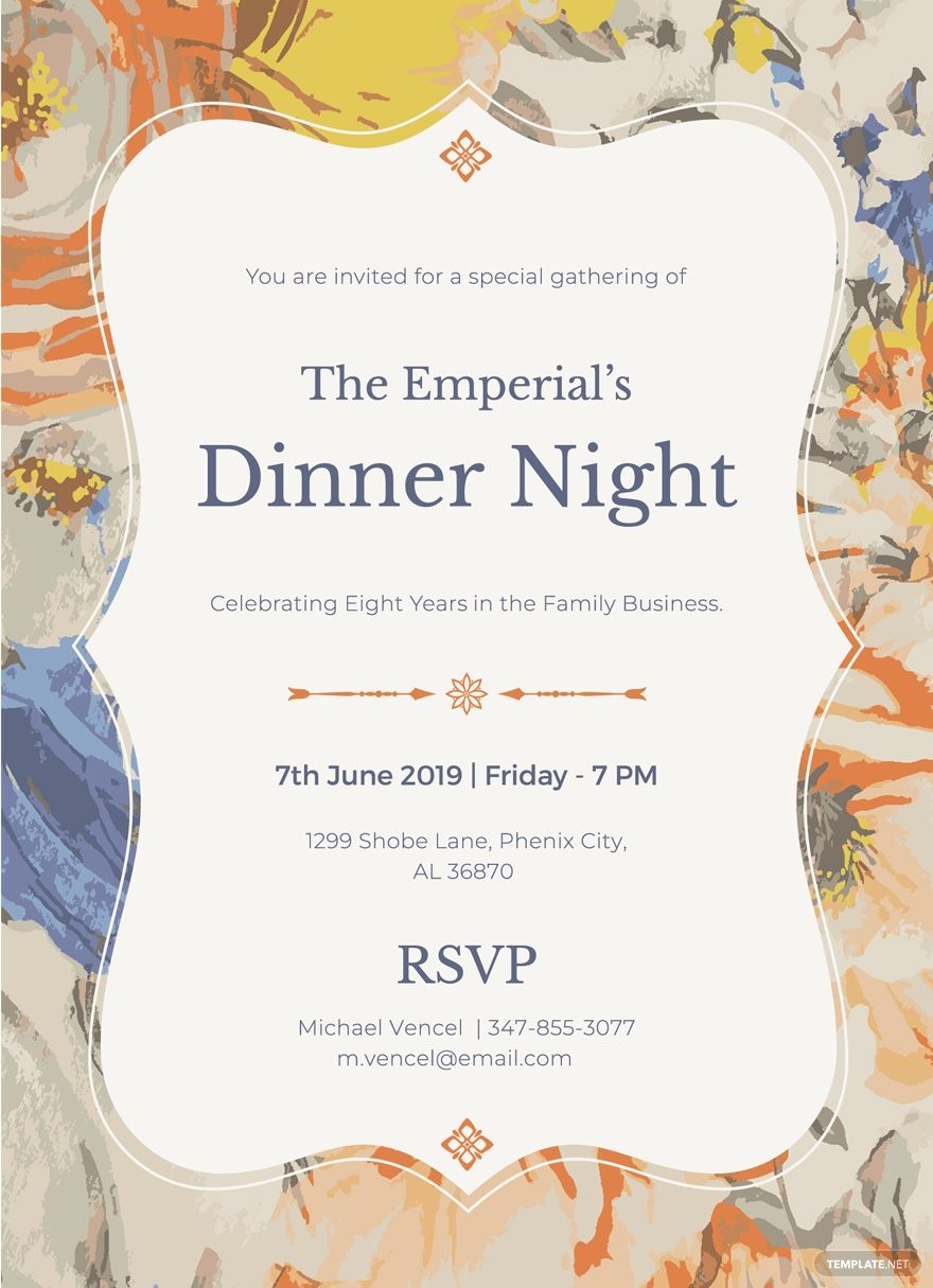 FREE Formal Dinner Invitation Template - Word (DOC)  PSD