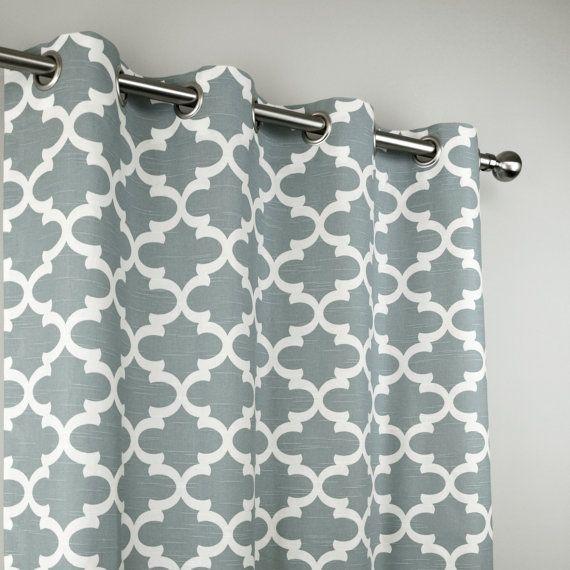Ash Grey White Quatrefoil Trellis Fynn Lattice Curtains Grommet 84 96 108 Or 120 Long By 25 Or 5 Grommet Curtains Ash Grey Curtains