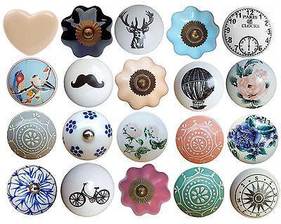 Vintage Ceramic Flower Round Drawer Knob Pull Handle Door Cabinet Knobs    Other Door Accessories   Door Accessories/ Furniture