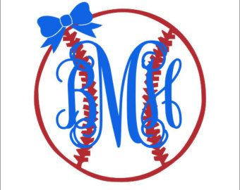 Baseball Monogram With Bow Decal Vinyl Decal Car Decal Car Window - Custom vinyl baseball decals