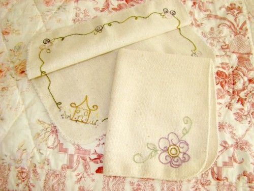 Basket Liner Set Hand Embroidered Cotton Linen Lavender Flower Cottage | countrygarden - Needlecraft on ArtFire