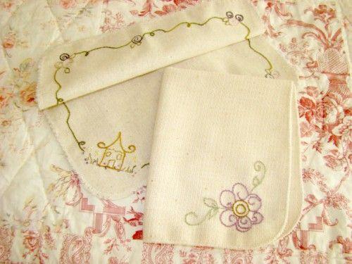 Basket Liner Set Hand Embroidered Cotton Linen Lavender Flower Cottage | countrygarden - Needlecraft on ArtFire