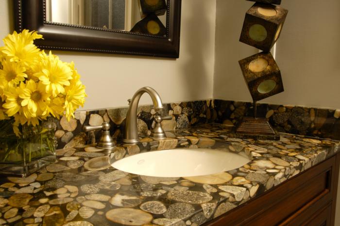 Black Mosaic Granite Bathroom Surface-EnCounters.com ... on Bathroom Ideas With Black Granite Countertops  id=71210
