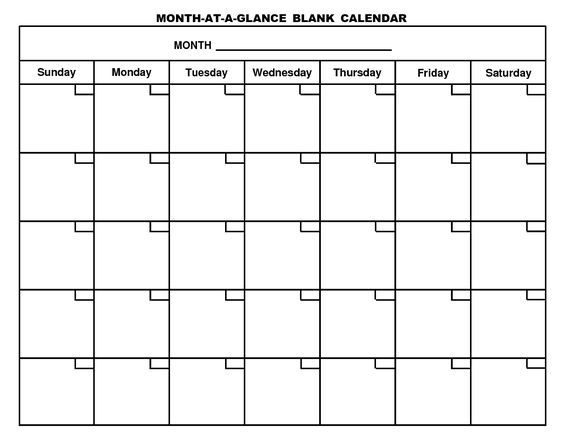 Printable Blank Calendar Template More Writing down this/that - Printable Blank Calendar