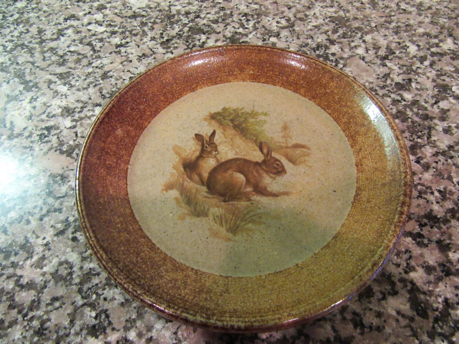 Sweet salt glazed pottery serving plate with rabbits design- Monroe Salt Works Maine- solid great condition & Sweet salt glazed pottery serving plate with rabbits design- Monroe ...