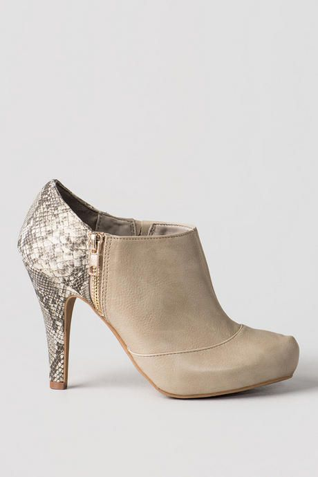Imply Snakeskin Bootie - natur-clright
