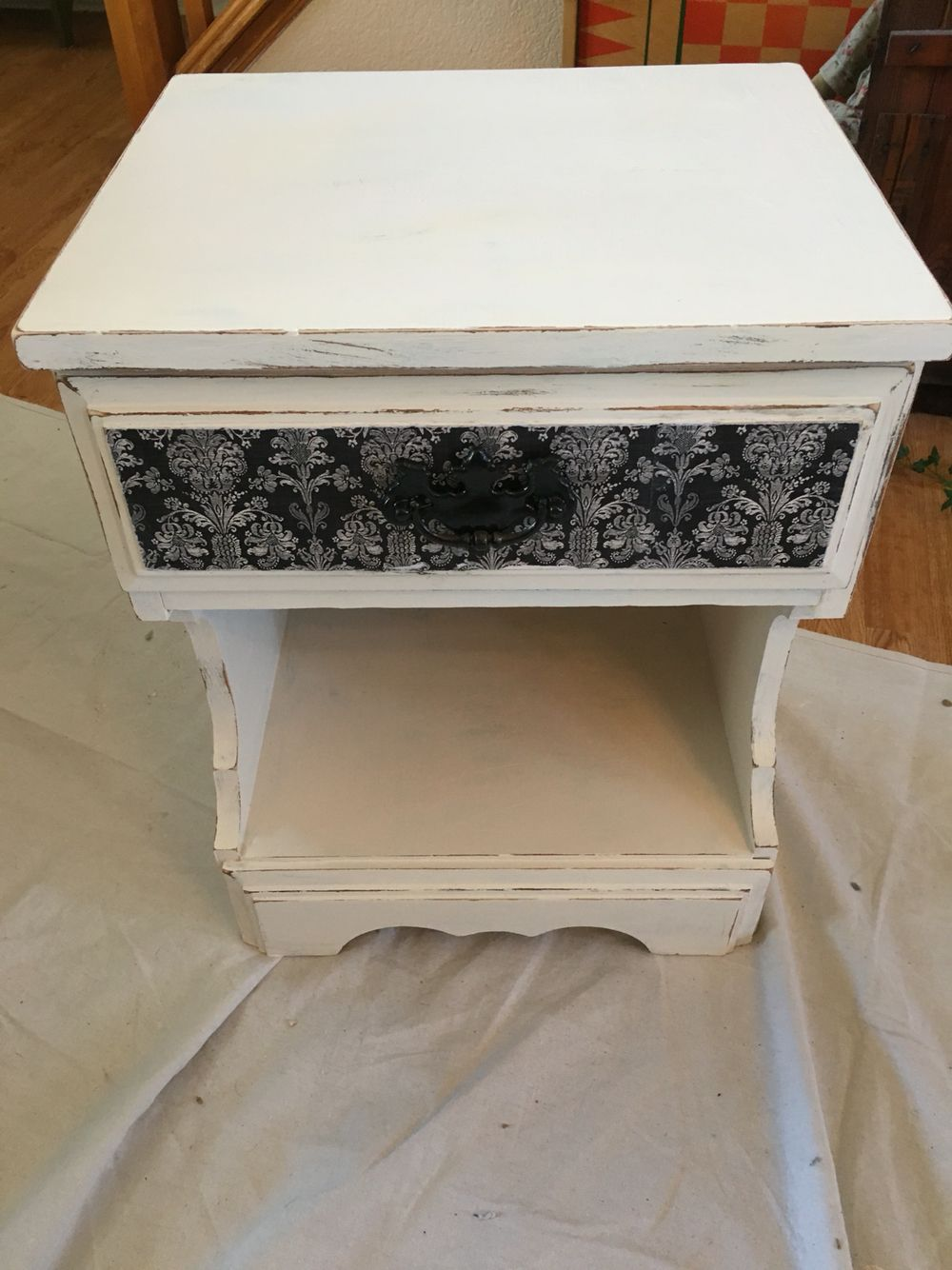 Chalk paint and scrapbook paper nightstand
