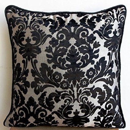 Damask Black - 14x14 inches Square Decorative Throw Pillow Covers in Black & Silver Damask Velvet Burnout fabric
