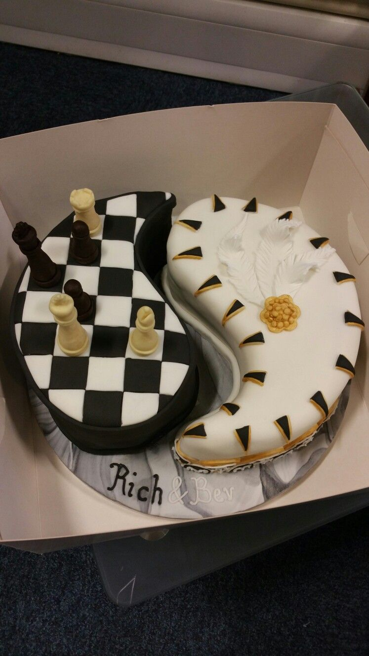 Yin Yang Birthday Cake For A Couple Who Likes Chess And Art Deco