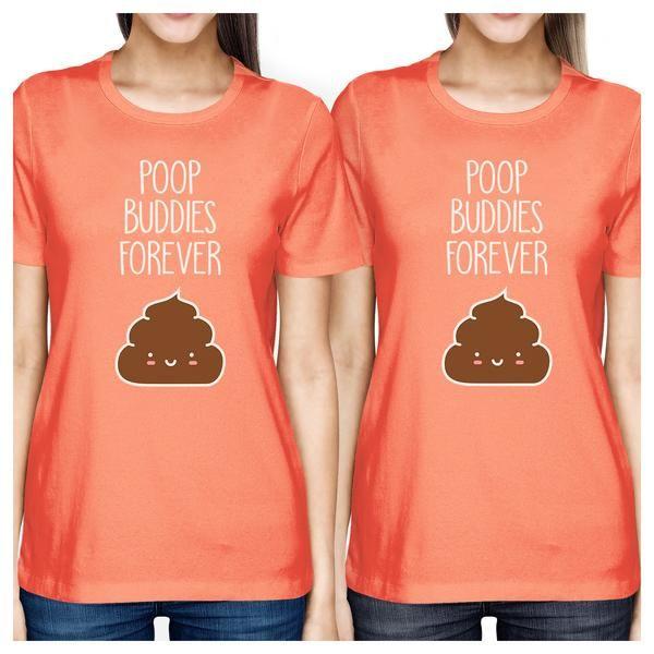 16abee50bf1eb7 365 Printing Poop Buddies Womens Peach BFF Matching Tops Short Sleeve Tee  Shirts