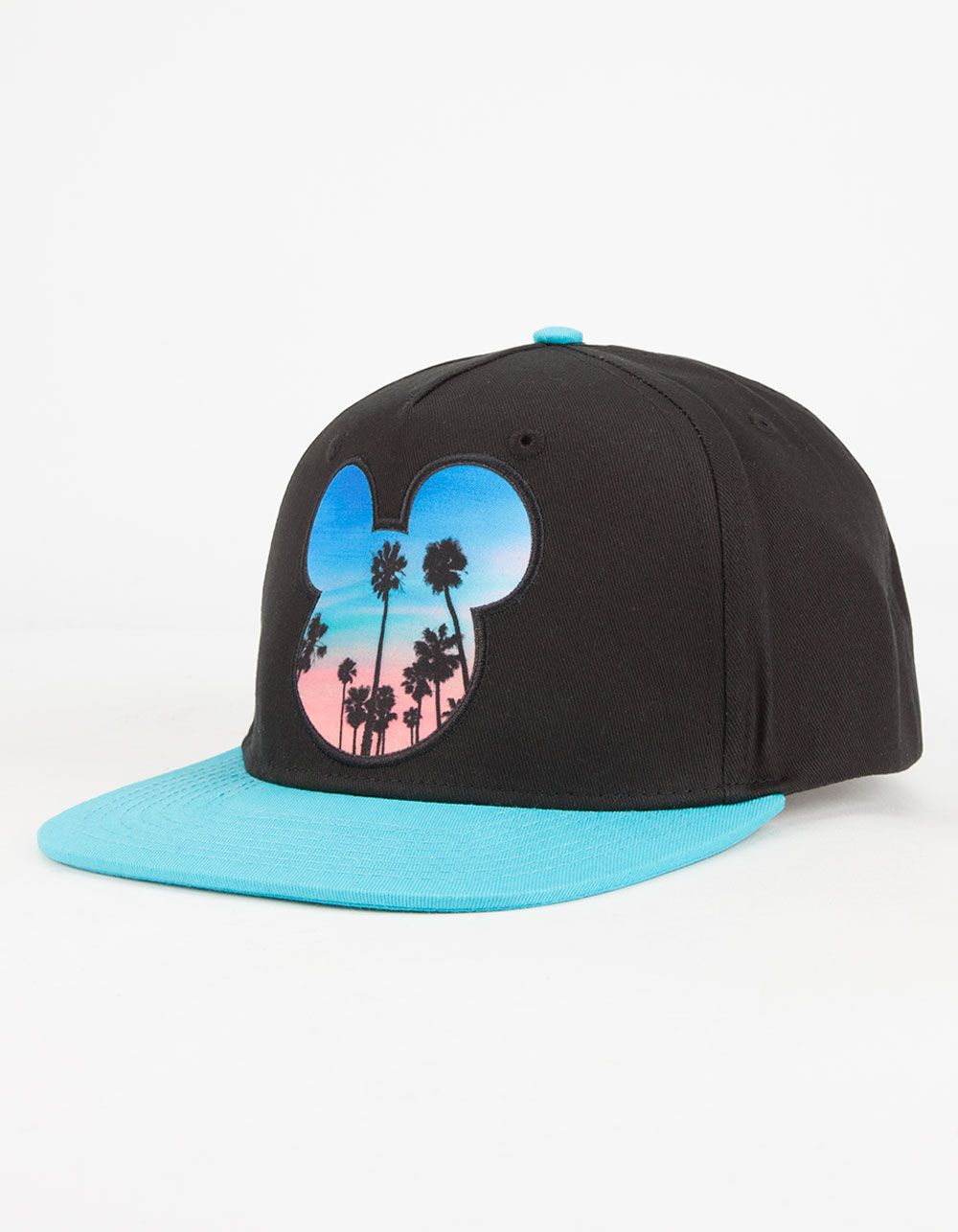 25a3617f5f4 Neff Disney Collection Palms Mickey Prime snapback hat. Sunset palms print  Mickey Mouse head silhouette