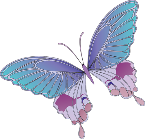 Cartoon Blue and Purple Butterfly Clipart | Butterflies ...