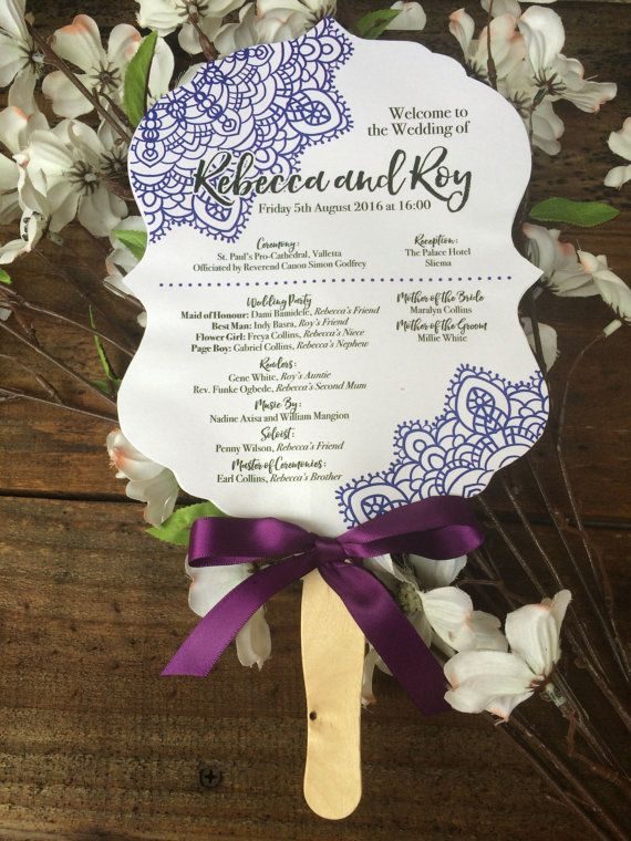 Fan Wedding Programs Scalloped Shaped Paddle
