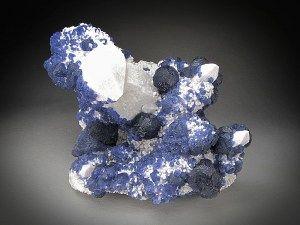 Mineral Specimen Blue Fluorite on Quartz Crystals Huanggang Mine Hexigten Banner Ulanhad League Inner Mongolia A. R. China For Sale