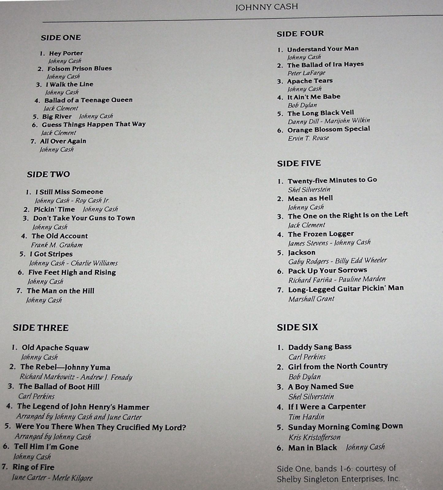 time-life box set song list | johnny cash lp record covers