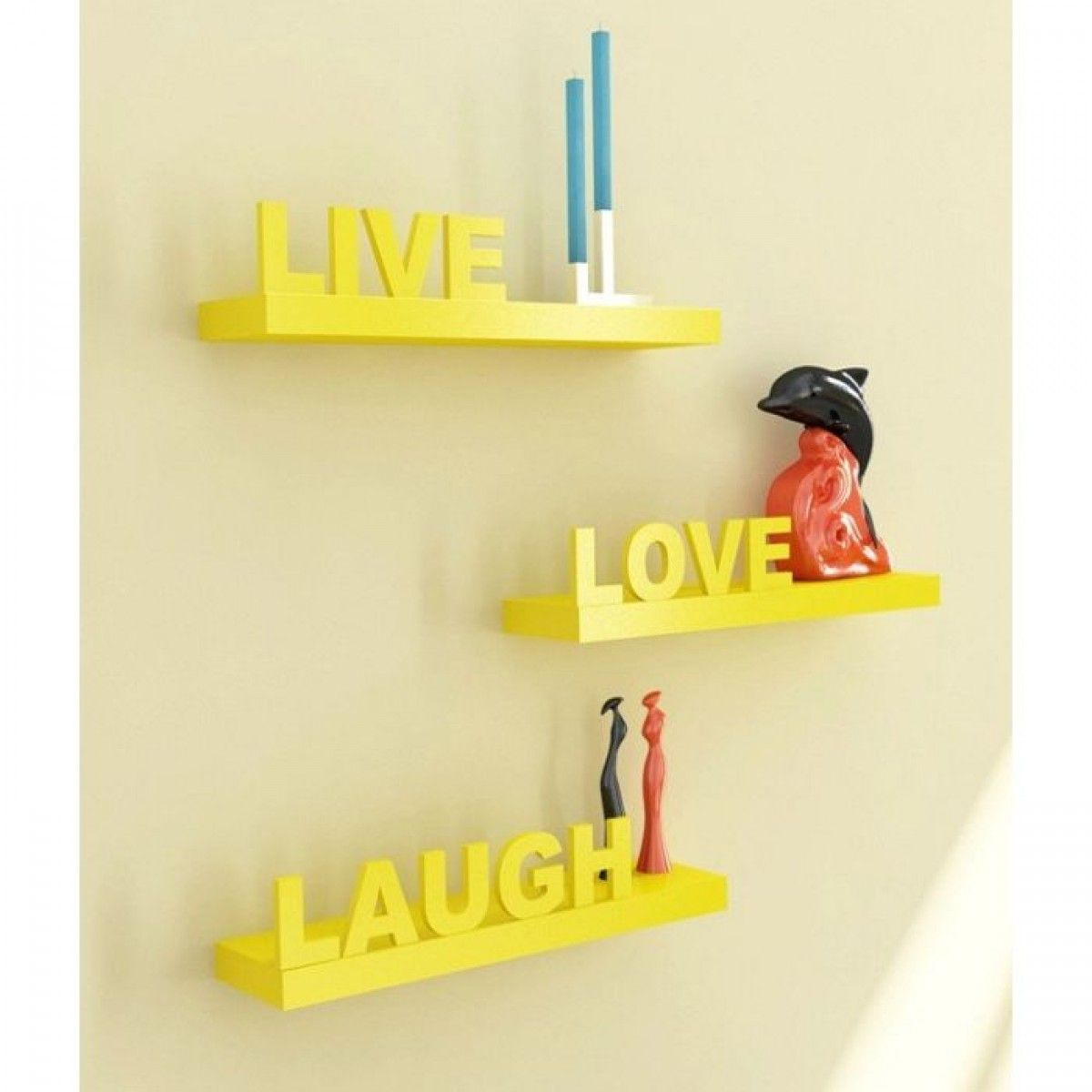 Onlineshoppee Beautiful Wooden Yellow Wall Shelves Live/Love/Laugh ...