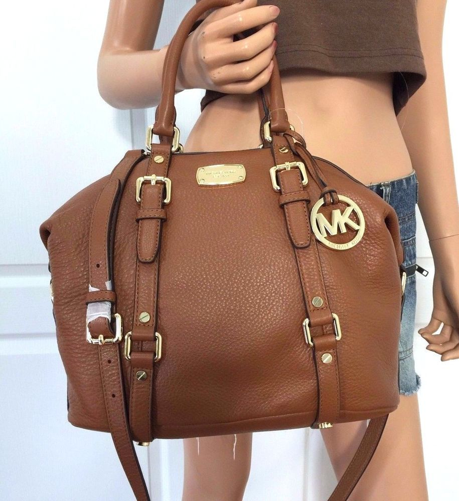 nwt michael kors medium mk bedford leather satchel bowling shoulder rh pinterest com