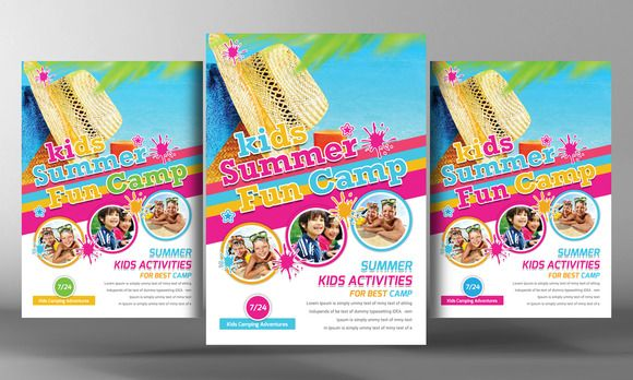Kids Summer Camp Flyer Template by Business Templates on Creative - summer camp flyer template