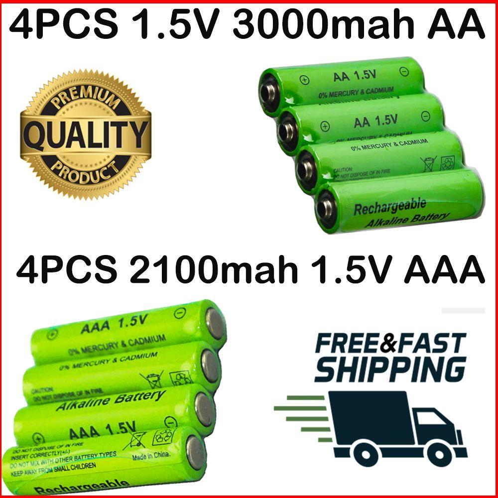 Rechargeable Battery 4 Pcs Aa 3000 Mah Aaa 2100 Mah 1 5v Alkaline Recharge Rechargeable Batteries Alkaline