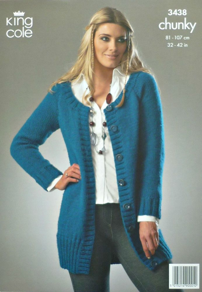 Knitting Pattern Ladies Long Sleeve Long Jacket Chunky King Cole
