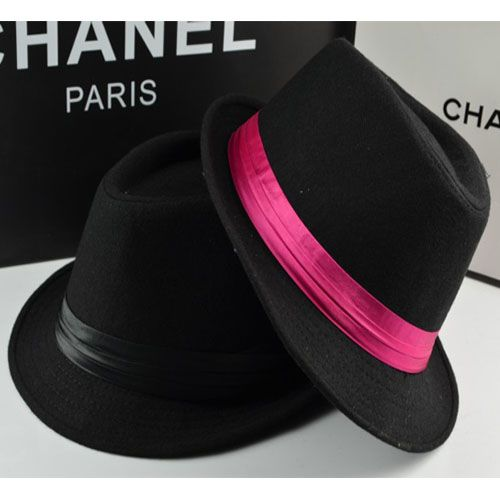 Fashion black woolen small fedoras female straw hat summer jazz hat male british style lovers outdoor casual