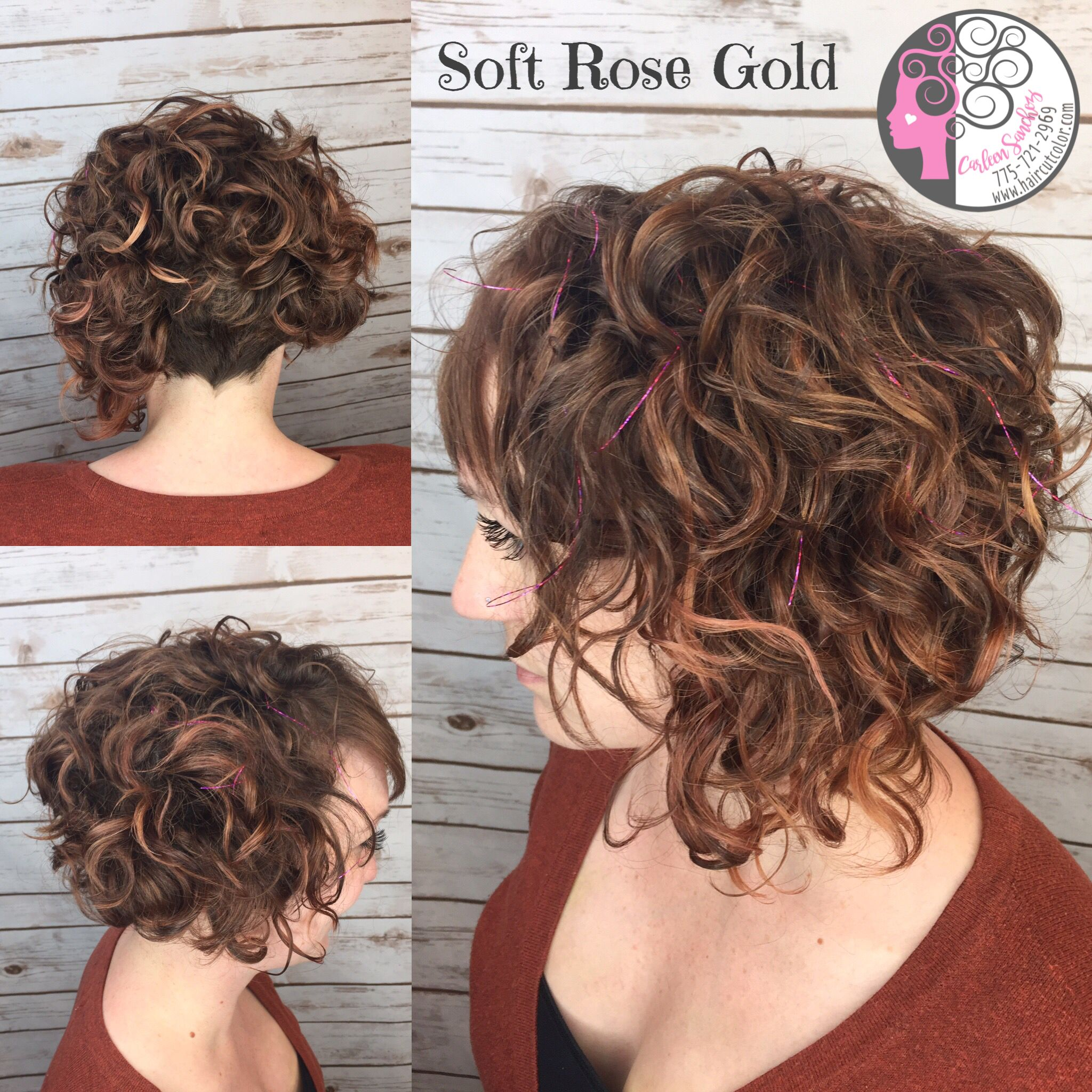naturally curly balayage rose gold
