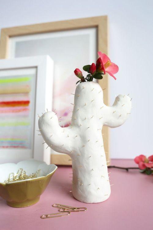 Clay Cactus Bud Vase